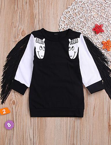 Romantico Bambino Da Ragazza Essenziale Con Stampe Manica Lunga Cotone - Poliestere T-shirt Nero #07326115 Prima Qualità