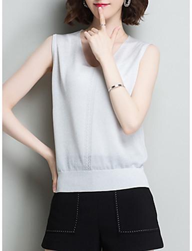 billige Topper til damer-Løstsittende V-hals Singleter Dame - Ensfarget Vester / T-skjorte Dusty Rose Rosa