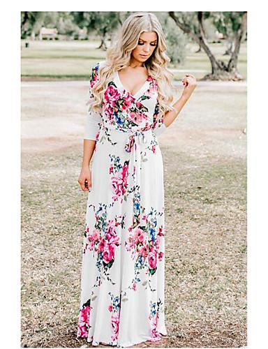 9405984e9e abordables Vestidos de Mujer-Mujer Algodón Línea A Vestido - Estampado  Envuelva