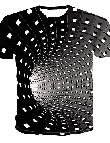 Men's Daily Street chic / Punk & Gothic Plus Size T-shirt - Geometric / 3D Print Round Neck Black XXXXL / Short Sleeve