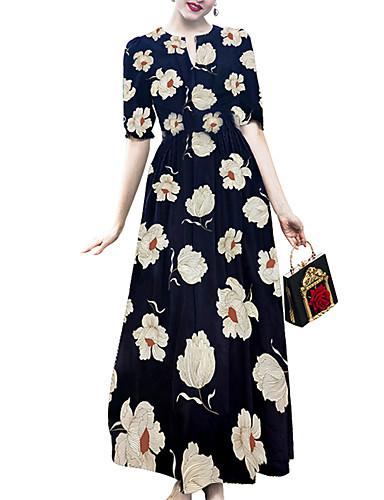 4973908e28fe Women's Sophisticated Elegant Swing Dress - Floral Print Blue L XL XXL