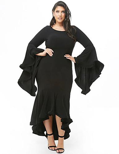 voordelige Grote maten jurken-Dames Verfijnd Elegant Trompet / zeemeermin Jurk - Effen, Ruche Asymmetrisch