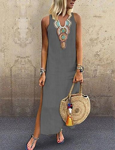 voordelige Maxi-jurken-Dames Grote maten Boho Elegant Slank Recht Jurk - Effen Tribal, Split Patchwork  V-hals Maxi