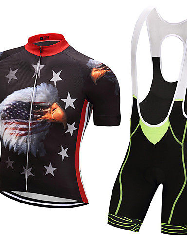 9f6cb7e74602 Χαμηλού Κόστους Ρουχισμός Ποδηλασίας-WEIMOSTAR Ανδρικά Κοντομάνικο Αθλητική  φανέλα και σορτς ποδηλασίας - Κόκκινο Πράσινο