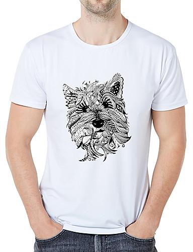 billige T-shirts og undertrøjer til herrer-Rund hals Tynd Herre - Stribet / Dyr / Tegneserie Trykt mønster Forretning / Elegant Plusstørrelser T-shirt Hvid XXL / Kortærmet