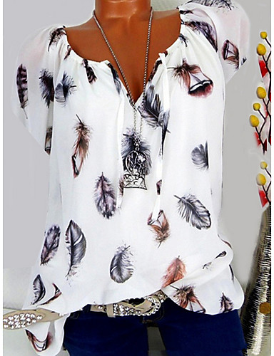 2646351a52fcc9 Women's T-shirt - Graphic Floral / Feather / Fashion V Neck Black XXXL /  Spring / Summer / Fall / Winter