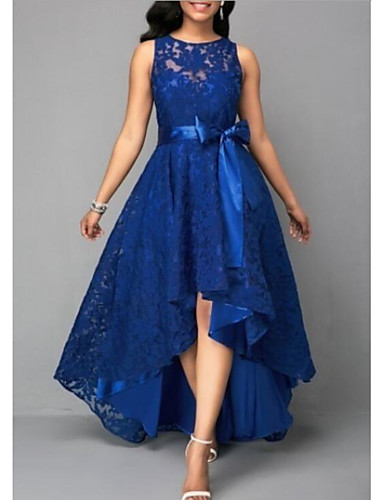 cheap Bridesmaid Dresses-A-Line Jewel Neck Asymmetrical Lace Bridesmaid Dress with Lace by LAN TING Express