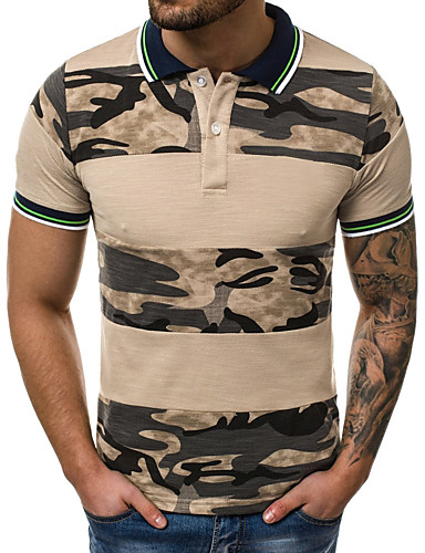 f93f58f6 Men's Cotton Slim Polo - Color Block / Camo / Camouflage Patchwork / Print  Shirt Collar Gray XL