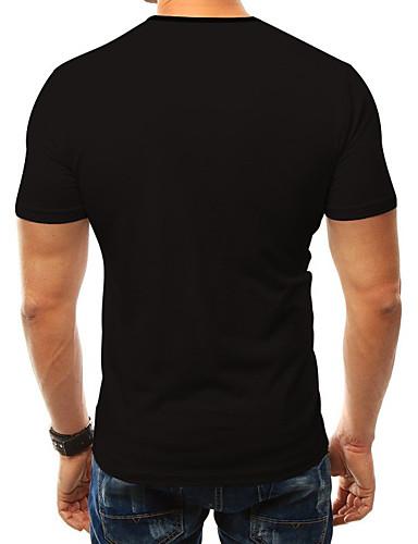 hesapli Erkek Tişörtleri ve Atletleri-Erkek Yuvarlak Yaka Tişört Desen, 3D Büyük Bedenler Siyah