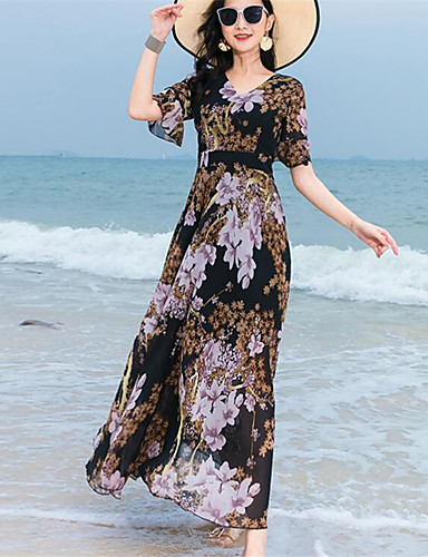 539040be75 Damskie Boho Elegancja Swing Sukienka Nadruk Midi