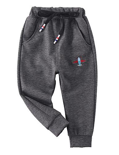 Děti Chlapecké Základní / Šik ven Jednobarevné Výšivka Bavlna Kalhoty Černá