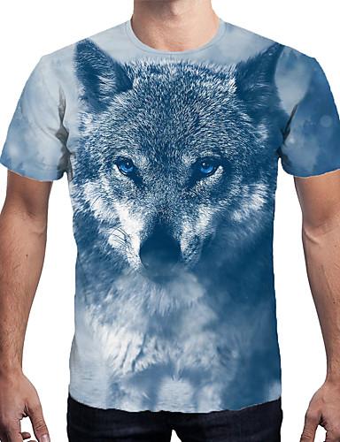 voordelige Herenbovenkleding-Heren Print T-shirt 3D blauw XL