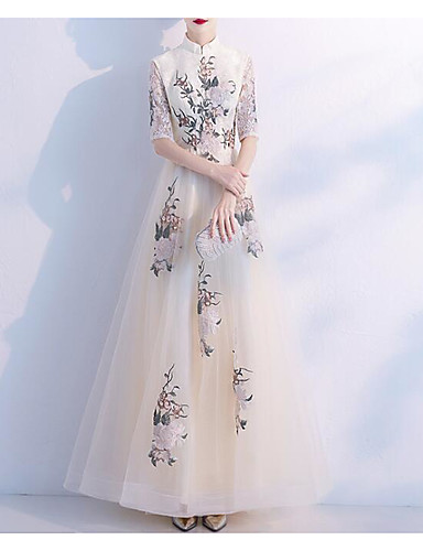 cheap Evening Dresses-A-Line High Neck Floor Length Lace / Tulle Dress with Embroidery / Lace Insert by LAN TING Express