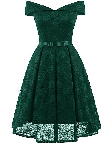 8a1f1011fd cheap Cocktail Dresses-Casual Dress A-Line Off Shoulder Tea Length Lace  Dress with
