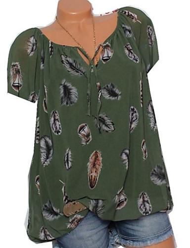 billige Dametopper-V-hals Store størrelser T-skjorte Dame - Geometrisk, Blondér / Trykt mønster Punk & Gotisk / Elegant Hvit