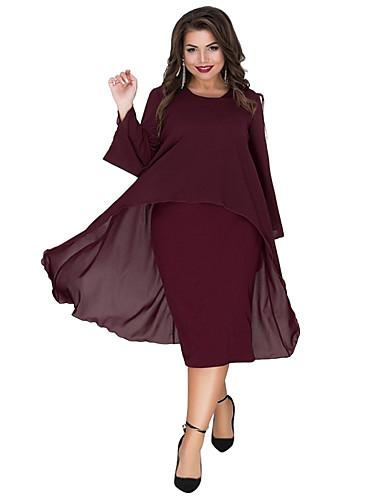 voordelige Grote maten jurken-Dames Elegant Schede Jurk - Effen, Meerlaags Patchwork Midi