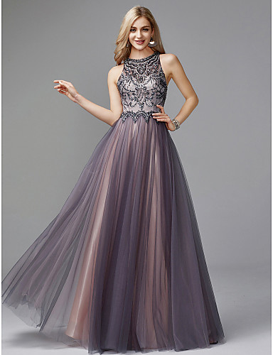 1608187995b A-Line Jewel Neck Floor Length Tulle Keyhole Prom   Formal Evening Dress  with Beading by TS Couture®