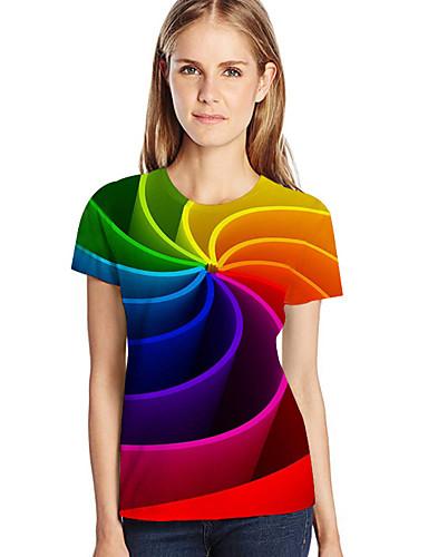 billige Dametopper-Løstsittende Store størrelser T-skjorte Dame - Geometrisk / 3D / Grafisk, Trykt mønster Rød