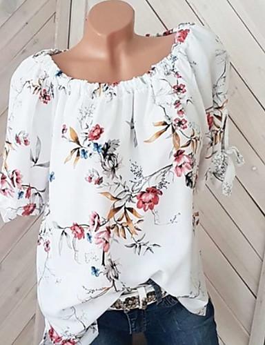 povoljno Majica-Veći konfekcijski brojevi Majica Žene - Osnovni Cvjetni print Spuštena ramena Širok kroj, Print Obala