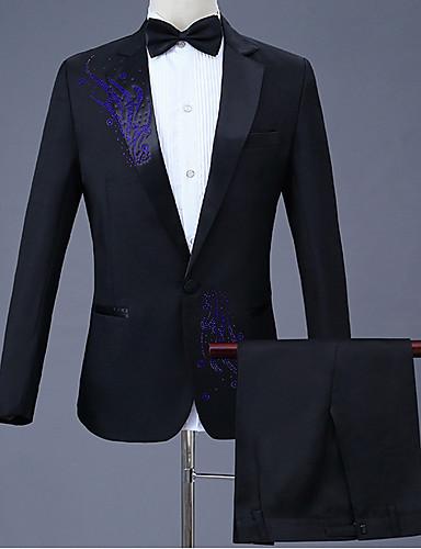 voordelige Herenblazers & kostuums-Heren Grote maten Pakken, Geometrisch Overhemdkraag Polyester Zwart / Rood / Paars / Slank