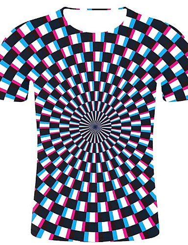 cheap Men's Tees & Tank Tops-Men's Plus Size Cotton T-shirt - Geometric / 3D / Check Print Round Neck Black XXL