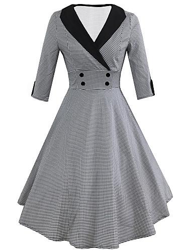 hesapli Kadın Elbiseleri-Kadın's Vintage Çan Elbise - Pötikare Midi