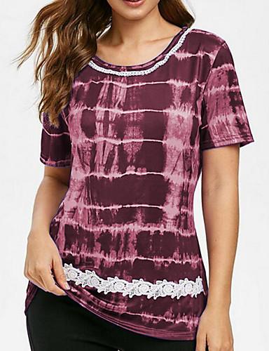 ราคาถูก ชุดและเสื้อสำหรับสุภาพสตรี-สำหรับผู้หญิง ขนาดพิเศษ เสื้อเชิร์ต ลายพิมพ์ รูปเรขาคณิต สีม่วง XXXL