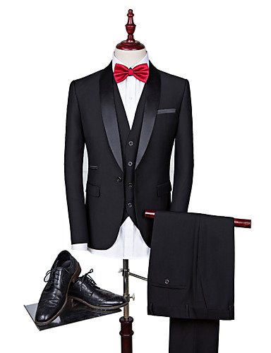 Erkek Suit, Solid Sivri Yaka Polyester Siyah / Şarap / Navy Mavi US32 / UK32 / EU40 / US34 / UK34 / EU42 / US36 / UK36 / EU44