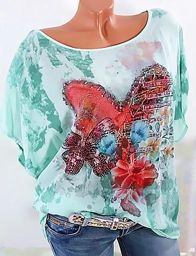 Kadın's Pamuklu Tişört Boncuklar / Kırk Yama / Desen, Grafik / Harf Yonca