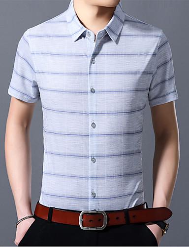 2019 Moda Camicia Per Uomo Con Stampe, A Strisce Blu Xl #07321398