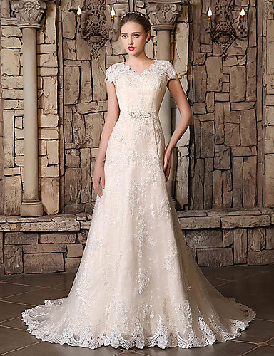 cheap Wedding Dresses-A-Line V Neck Court Train Lace / Tulle Made-To-Measure Wedding Dresses with Beading / Appliques / Lace by JUDY&JULIA
