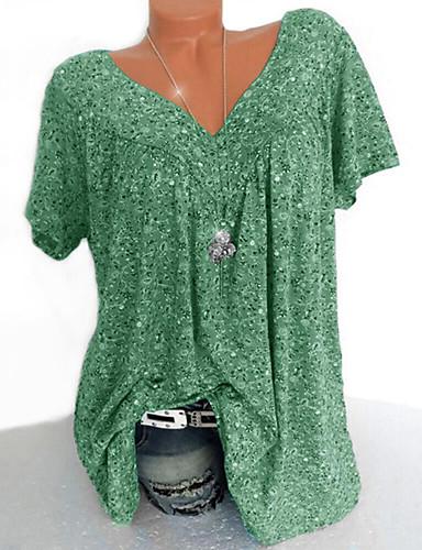 billige Topper til damer-V-hals Skjorte Dame - Blomstret / Geometrisk / Grafisk, Lapper / Trykt mønster Gul