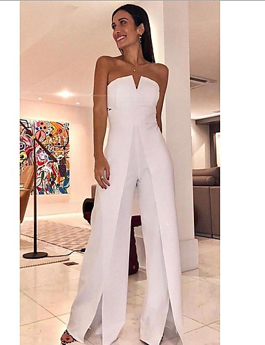 cheap Women's Jumpsuits & Rompers-Women's White Wide Leg Slim Jumpsuit, Solid Colored Split / Fashion / Off Shoulder M L XL Spring Summer Fall / Winter