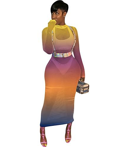 abordables Robes Femme-Femme Basique Maxi Ample Moulante Robe - Dos Nu Imprimé, Points Polka Arc-en-ciel Col en U Orange Vert S M L Sans Manches