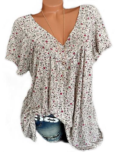 billige Dametopper-V-hals Skjorte Dame - Blomstret / Geometrisk / Grafisk, Lapper / Trykt mønster Gul XXXL