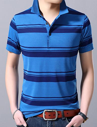 voordelige Herenpolo's-Heren Print Polo Gestreept Overhemdkraag blauw