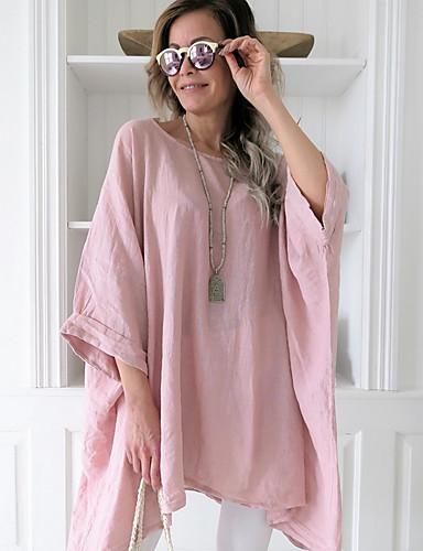 abordables Hauts pour Femme-Tee-shirt Femme, Couleur Pleine énorme Rose Poudré Bleu