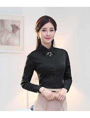 abordables Camisas y Camisetas para Mujer-Mujer Camisa Un Color Negro XXXXXXL