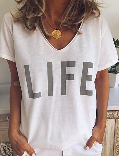 billige Topper til damer-V-hals T-skjorte Dame - Bokstaver Hvit XL