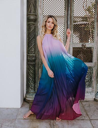 Abile Per Donna Sofisticato Elegante Swing Vestito - Increspato Collage, Tinta Unita Maxi #07313673