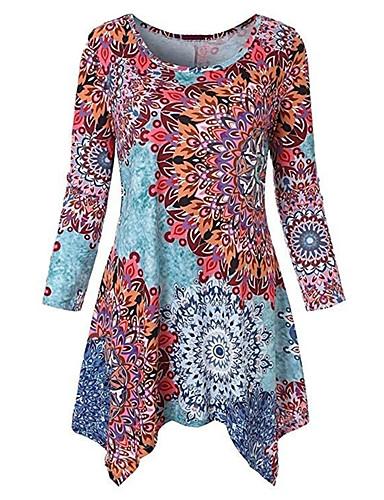 billige Dametopper-T-skjorte Dame - Blomstret / 3D, Lapper / Trykt mønster Svart XXXL
