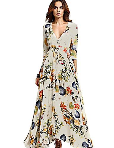 35588432e5 baratos Vestidos Longos-Mulheres Elegante Evasê Vestido Geométrica Longo