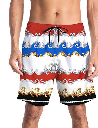 Miesten Urheilullinen / Perus Ohut Chinos housut / Shortsit Housut - Painettu / Patterned / 3D Print Perinteinen / Painettu Sateenkaari L XL XXL