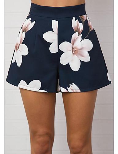 abordables Pantalons Femme-Femme Basique Ample Pour Bottes (Bootcut) / Short Pantalon - Fleur / 3D Print Mosaïque / Imprimé Taille haute Bleu M L XL