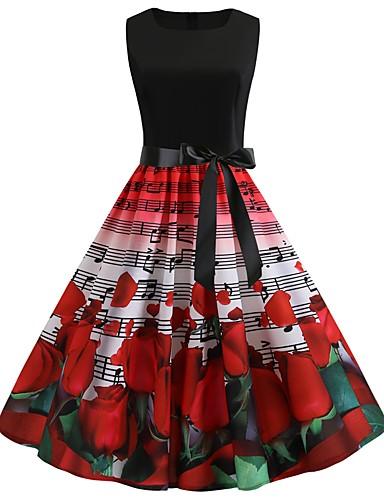 billige Kjoler-Dame Vintage A-linje Kjole - Batikkfarget, Lapper Trykt mønster Knelang