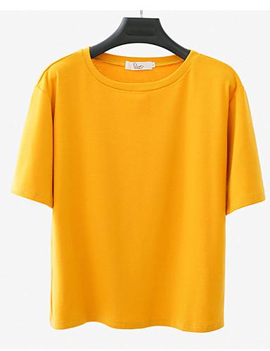abordables Hauts pour Femme-Tee-shirt Femme, Couleur Pleine Blanche