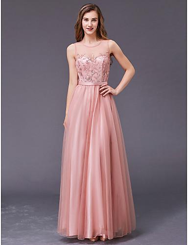 رخيصةأون وصل حديثًا-A-الخط جوهرة طول الأرض شيفون حفلة رسمية فستان مع حصى بواسطة TS Couture®
