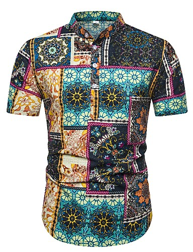abordables Camisas de Hombre-Hombre Boho Estampado Camisa Floral / Bloques / Gráfico Verde Claro US38