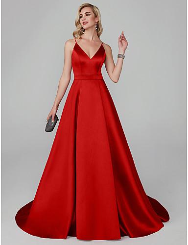 رخيصةأون فساتين حمراء-A-الخط حمالات سباكيتي ذيل مثل الفرشاة ايوسل حفلة رسمية فستان مع شريط و شاح بواسطة TS Couture®