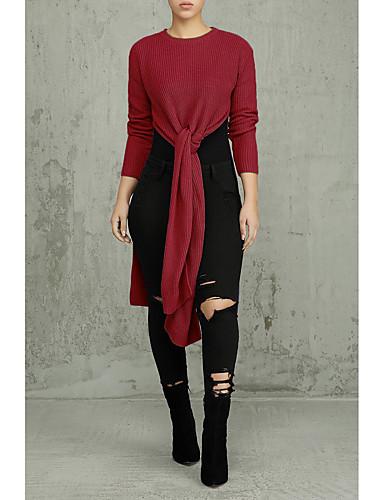abordables Hauts pour Femmes-Femme Couleur Pleine Manches Longues Pullover, Col Arrondi Automne Blanc / Marine / Vin M / L / XL